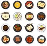 Plats gastronomiques internationaux de cuisine d'asiatique à l'Américain et à l'Eu Photographie stock