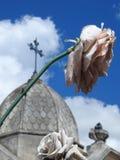 Plats i en kyrkogård: närbild av en konstgjord vissen blomma I bakgrunden en suddig mausoleum royaltyfria foton