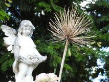 Plats i en kyrkogård: närbild av en torr och död blomma I den suddiga bakgrunden stenar ett gammalt statyn av en ängel royaltyfri fotografi