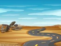 Plats med den tomma vägen i ökenjordning vektor illustrationer