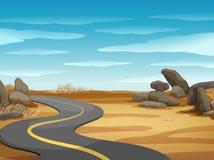 Plats med den tomma vägen i ökenland stock illustrationer