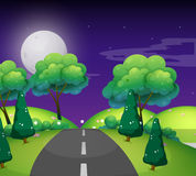 Plats med den tomma vägen på natten royaltyfri illustrationer