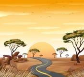 Plats med den tomma vägen på solnedgången royaltyfri illustrationer