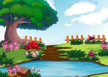 Plats med floden i trädgård vektor illustrationer