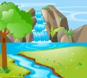 Plats med floden och vattenfallet stock illustrationer