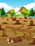 Plats med högg av träd i fältet stock illustrationer