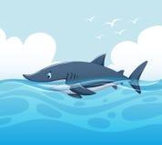 Plats med hajen i havet vektor illustrationer