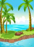 Plats med kokospalmer på ön vektor illustrationer