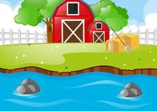 Plats med ladugårdar och floden stock illustrationer