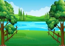 Plats med sjön och fältet stock illustrationer