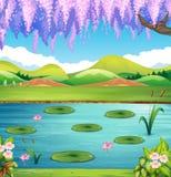 Plats med sjön och kullar vektor illustrationer