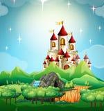 Plats med slotten och skogen stock illustrationer