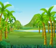 Plats med träd och sjön royaltyfri illustrationer
