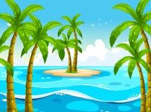 Plats med träd på ön royaltyfri illustrationer