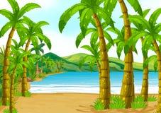 Plats med träd på stranden vektor illustrationer