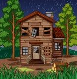 Plats med trähuset med brutna fönster stock illustrationer