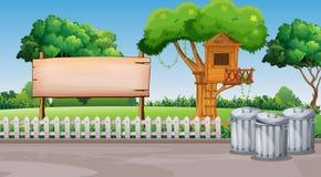 Plats med treehousen i parkera Royaltyfri Fotografi