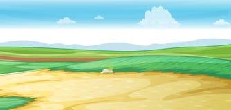 Plats med vägen på fältet vektor illustrationer