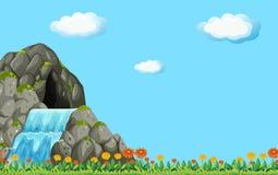 Plats med vattenfallet och fältet royaltyfri illustrationer