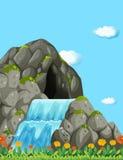 Plats med vattenfallet och fältet stock illustrationer