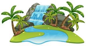 Plats med vattenfallet och floden vektor illustrationer