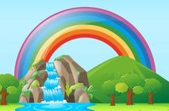 Plats med vattenfallet och regnbågen stock illustrationer