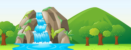 Plats med vattenfallet och skogen stock illustrationer