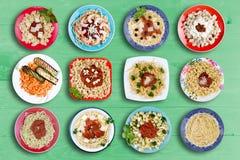 Plats multiples de pâtes pour chaque appétit Photo libre de droits