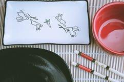 Plats pour des sushi la vue supérieure Photographie stock