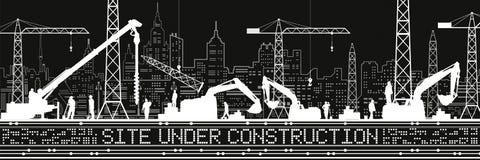 Plats under konstruktionsillustration Byggnadspanorama, industriellt landskap, Constructional kranar och grävskopor, stads- plats vektor illustrationer