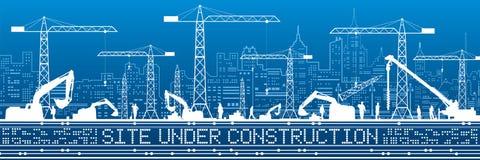 Plats under konstruktionsillustration Byggnadspanorama, industriellt landskap, Constructional kranar och grävskopor, stads- plats stock illustrationer