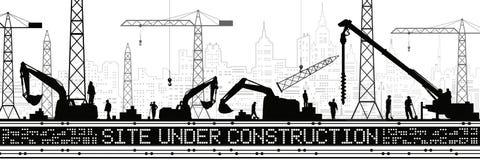 Plats under konstruktionsillustration Byggnadspanorama, industriellt landskap, Constructional kranar och grävskopor, stads- plats royaltyfri illustrationer