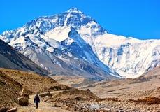Plats-vägen för den tibetana platån går till Everest (monteringen Qomolangma). Royaltyfri Bild