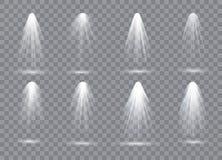 Platsbelysningsamling, genomskinliga effekter Ljus belysning med strålkastare vektor illustrationer