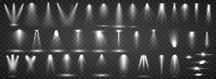 Platsbelysningsamling Ljus belysning f?r stor upps?ttning med str?lkastare Fl?ckbelysning av etappen royaltyfri illustrationer