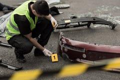 Platsen efter bombarderar explosion Fotografering för Bildbyråer