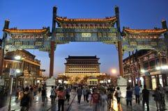 Platser för Beijing Qianmen gatanatt Royaltyfri Bild