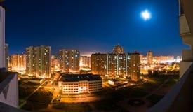 platser för moscow nattpanorama Arkivfoton