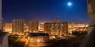 platser för moscow nattpanorama Royaltyfria Bilder