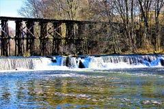 Platser från Hamilton Dam på kaninfloden, Hamilton MI Fotografering för Bildbyråer
