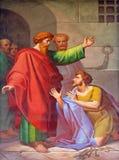 Platser från livet av St Paul: Omvandling av fångvaktaren arkivbild