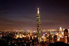 Platser Taiwan för natt Taipei101 Royaltyfria Bilder