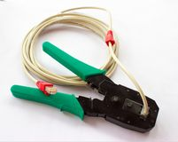 Plattång för crimper för kabel för nätverksLAN-kabel Royaltyfria Foton