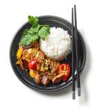 Platta av asiatisk mat royaltyfria bilder