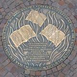 Platta av bränningen för bok 1933 i Frankfurt, Tyskland Arkivbild