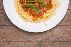 Platta av italiensk spagetti Royaltyfri Bild