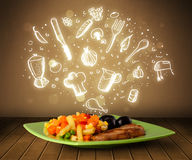 Platta av mat med vit hand drog symboler och symboler Royaltyfria Foton