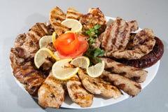 Platta av olikt kött. grillfestgaller arkivbild