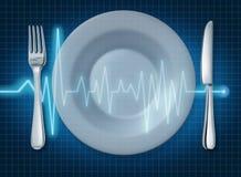platta för livsstil för hjärta för ecgekgmat sund Arkivfoto