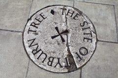 Platta för Tyburn träd (galge) i London Arkivbilder